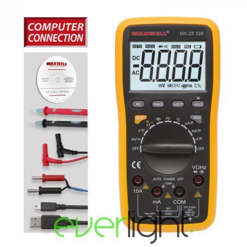 Maxwell MX-25 328 Digitális multiméter 5az1-ben USB-s PC kapcsolattal