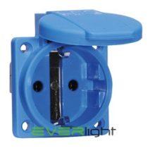 Bals csapfedeles HT aljzat, 2P+F, 16A 250V beépíthető, kék IP54 50x50mm